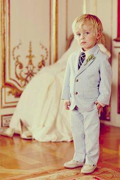 Stripe Seersucker Suit for ring bearer!  we ❤ this! moncheribridals.com  #ringbearersuits