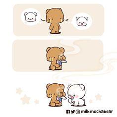 Cute Couple Comics, Cute Couple Cartoon, Cute Love Cartoons, Cute Comics, Cute Bear Drawings, Cute Animal Drawings Kawaii, Cute Love Pictures, Cute Love Gif, Chibi Cat