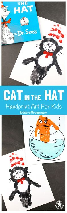 CAT IN THE HAT HANDPRINT CRAFTS - Are you a Cat In The Hat fan? These Dr Seuss handprint crafts are super fun! Print them on a canvas for the wall or add a popsicle stick to turn them into puppets! Great for World Book Day and Dr Seuss' birthday celebrations. #WorldBookDay #DrSeuss #CatInTheHat #KidsCrafts #handprintcrafts #handprintart #bookcrafts #kidsliterature #KidsArt #craftsforkids  #thecatinthehat #kidsbooks #bookart #bookcrafts #kidscraftroom #handprint #painting   via @KidsCraftRoom