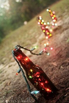 Turn a walkway into something magical with recycle beer bottles and old Christmas lights. This and more patio ideas on Frugal Coupon Living.