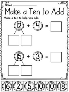 Make a ten to add cut and paste worksheet that makes bridging to 10 fun! SO MANY awesome worksheets and centers for this math skill in this unit