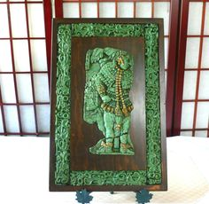 Large Aztec Wall Hanging Jade Green Stone Mosaic, Wood and Jade Framed, Aztec Pre-Columbian Indian, Mexican Reproduction Folk Art by…