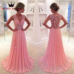 Custom Made A line V neck Lace Chiffon Evening Dress 2017 vestido de gala Dubai Luxury Evening Gown On Sale ZQ99