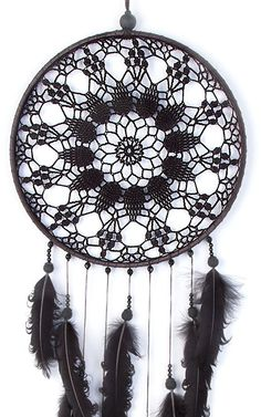 Grand Black Dream Catcher Crochet napperon par DreamcatchersUA