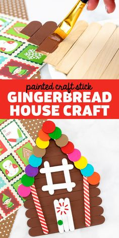Craft Stick Gingerbread House - Transform craft sticks into a magical gingerbread house craft! This craft stick craft is a fun Christmas craft for kids and adults to make! Includes a free printable template for easy crafting at home or school. Popsicle Stick Crafts For Kids, Craft Stick Crafts, Preschool Crafts, Crafts To Make, Easy Crafts, Craft Sticks, Kids Crafts, Craft Ideas, Christmas Crafts For Adults