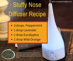 Join our Community and become a dōTERRA WELLNESS Advocate or buy dōTERRA products as a Wholesale Member Stuffy Nose Diffuser Recipe simplyaromalabs. Essential Oil Diffuser Blends, Doterra Essential Oils, Natural Essential Oils, Doterra Diffuser, Stuffy Nose Essential Oils, Natural Oils, Natural Health, Cough Remedies For Adults, Diffuser Recipes