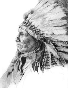 Native american Chief pencil portrait by D.Doobie.Doowhaa, via Flickr