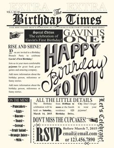 Hey, I found this really awesome Etsy listing at https://www.etsy.com/listing/216203781/newspaper-party-invitation