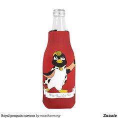 Royal penguin cartoon bottle cooler