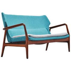Bovenkamp wingback lounge sofa Blue Aksel Bender Madsen 1960