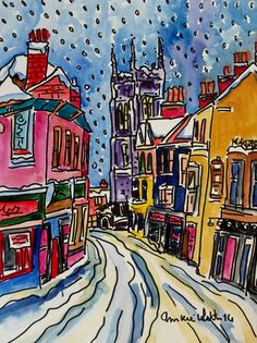 ORIGINAL WATERCOLOUR AND INK OF CROMER IN THE SNOW STREET SCENE