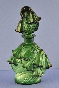 Molded Green Glass Cora Bells Perfume Bottle. Vintage.