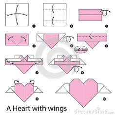 Instrucciones paso a paso cómo hacer papiroflexia un corazón con las alas
