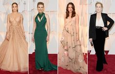 Jennifer Lopez en Elie Saab, Scarlett Johansson en Official Versace, Keira Knightley en Valentino Haute Couture, y Meryl Streep. #ELLEOscar