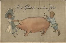 Italian New Year - Children Trying to Move Pig c1910 Postcard