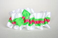 Wedding Garter - White, Green, Hot Pink Neon Bridal Garter - Sample Sale