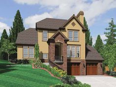 Front porches walkout basement and covered decks on pinterest for Hillside house plans with garage underneath