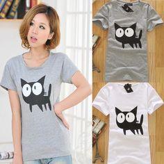 Cute Cartoon Cat Print T Shirt BA808FJ