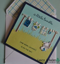 Little Bundle baby boy handmade card using Lawn Fawn Little Bundle stamps & dies & perfectly plaid paper.