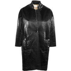 Studio Nicholson Koza coated matelassé coat (13.685 RUB) ❤ liked on Polyvore featuring outerwear, coats, black and oversized coat
