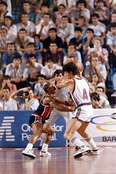 FIBA World Championship Yugoslavia Drazen Petrovic in action vs USA Mugsy Bogues during Group 2 play at Palacio Municipal de Deportes de Oviedo...