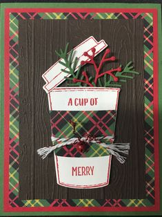Stampin' Up: Merry Cafe Stamp Set, Coffee Cup Framelits, Pretty Pine Thinlits, Pinewood Planks 3D Dynamic TIEF, Christmas Around the World DSP, Real Red/Garden Green, Early Expresso Cardstock; Inspired by Linda Cullen