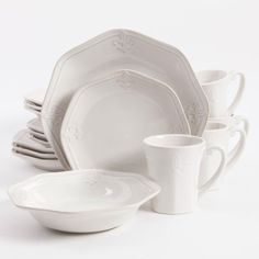 Better Homes and Gardens Country Crest 16-Piece Dinnerware Set & 222 Fifth Northwoods Cottage 16-pc. Square Dinnerware Set ...