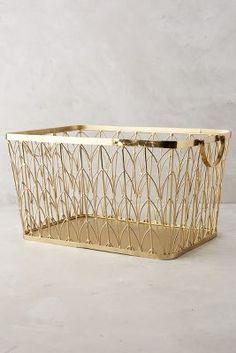 Sundridge Basket from Anthropologie (aff link) Home Decor Accessories, Decorative Accessories, Accessories Online, Gold Desk Accessories, Bathroom Accessories, Decorative Storage, Storage Baskets, Dorm Storage, Basket Shelves