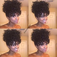 "Protective Natural Hair Styles on Instagram: ""By @itsmebfairley Ponytail & Bangs ❤️ (From twist out/perm rods)"""