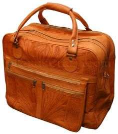 Buy Western Tooled Leather Carry On Luggage Bags 742