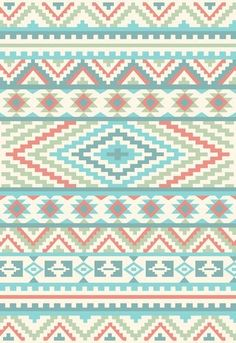Peach blue green Aztec n tribal print