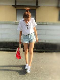 the☆夏コーデ 白T✕デニムショーパン 鉄板ですな というか、