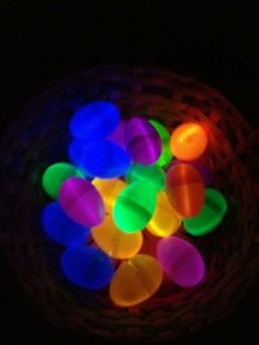 Illuminated Easter eggs made from plastic eggs with glow sticks curled up inside