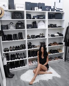 WEBSTA @ ashleighdmello - Too many shoes? Too many bags? The only logical thing to do is get another shelf ... right?! ✌️ This is me, turning my dining room into a closet and I should be stopped immediately