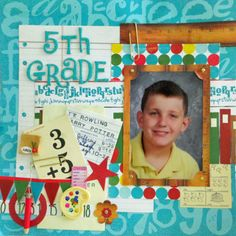 Layout: Grade featuring Quick Quotes Pattern paper line School Scrapbook Layouts, Kids Scrapbook, Scrapbook Sketches, Scrapbook Paper Crafts, Scrapbooking Layouts, Scrapbook Cards, Scrapbook Borders, Digital Scrapbooking, School Pictures