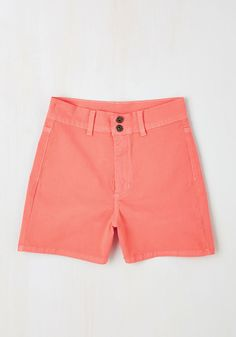 It's High Time Short in Flamingo. Balmy days have arrived - and you're ready to debut your sunny style in these coral-pink shorts! #coral #modcloth