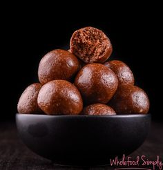Choc PB Cookie Dough Bliss Balls. Simple, delicious and free from gluten, grains, dairy, egg and refined sugar. Enjoy.