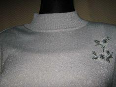 NEU* Designer * Blüten * Perlen * Stickerei * Glitzer * Vintage * Pullover * Gr. 36- 38/ S, silber*
