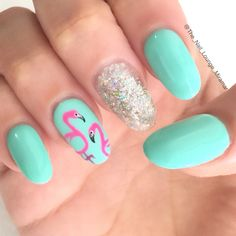 Flamingo nail art design