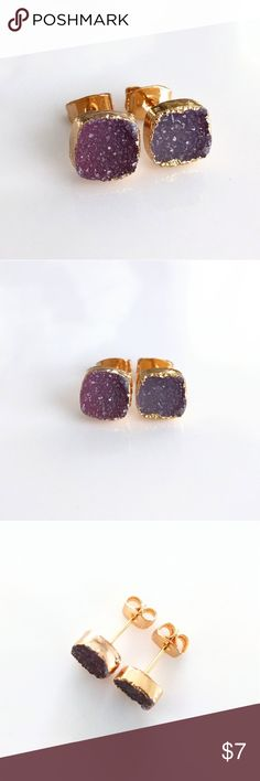 Gold-plated genuine agate druzy stud earrings CLOSET CLOSING CLEARANCE!  All prices are firm; no additional offers accepted.  I'm earning no profits, just liquidating everything before moving abroad.    I'm listing as many items as I can as quickly as I can, but things are selling fast, so grab your faves while you can!   Nickel and lead free. Jewelry Earrings