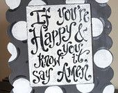 If you're Happy and You Know It - Original scallop frame painting - children - song lyric - fun custom canvas