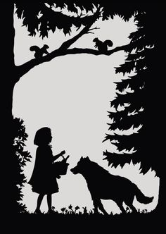Fairy Tale Postcards by Laura Barrett - Illustration Portfolio - London Based Freelance Silhouette & Pattern Illustrator Silhouettes, Big Bad Wolf, Shadow Puppets, Illustration, Silhouette Art, Scroll Saw Patterns, Kirigami, Red Riding Hood, Pyrography