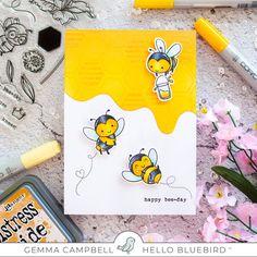 Hello Bluebird Bee Friends – mygirllollipop Blue Bird Art, Honey Bee Stamps, Bookmarks Kids, Bee Cards, Bee Happy, Baby Scrapbook, Card Making Inspiration, Birthday Cards, Birthday Images