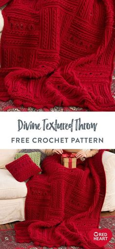 Free Divine Textured Throw crochet pattern using Red Heart With Love yarn. Interesting cable and ridge textures make this crochet blanket for your holiday home. Display it in the guestroom for a magnificent touch, or lay them on the sofa for cozy warmth. In any shade you choose, the work on this masterpiece is well worth the effort. #Yarnspirations #FreeCrochetPattern #CrochetAfghan #CrochetBlanket #CrochetThrow #RedHeartYarn #RedHeartWithLove