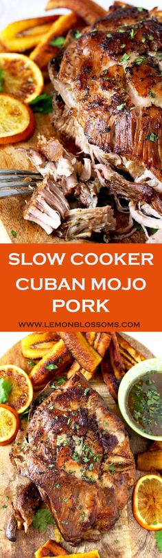 Easy and succulent Slow Cooker Cuban Mojo Pork made with citrus, garlic and spices resulting in the most tender, delicious and flavored-packed Cuban-style pork. Minimal prep time makes this a perfect meal your family and friends will love! Low Carb Slow Cooker, Crock Pot Slow Cooker, Slow Cooker Recipes, Crockpot Recipes, Cooking Recipes, Slow Cooker Meal Prep, Slow Cooker Pork Carnitas, Slow Cooker Pork Belly, Crock Pots