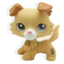 #2452 Littlest Pet Shop RARE Collie Dog Puppy Yellow Tan Brown White Blue Eyes