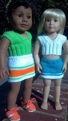 Skirt & cropped top- free pdf- for both AG & slim bodied dolls (Kidz 'n' Cats)