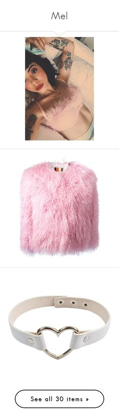 """""""Mel"""" by jumpkat ❤ liked on Polyvore featuring vintage, melaniemartinez, Crybaby, outerwear, jackets, coats, fur, pink, pink jacket and msgm"""