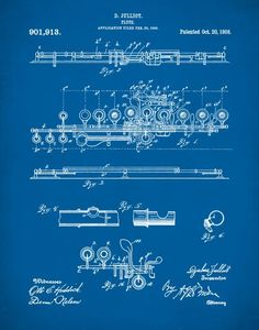 Flute 1908 Patent Poster Music Room Decor by NeueStudioArtPrints Flute Instrument, Band Director, Band Nerd, Musician Gifts, Patent Drawing, Music Therapy, Classical Music, Colorful Backgrounds, Room Decor