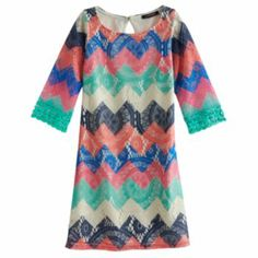 My Michelle Chevron Crocheted Dress - Girls 7-16, Kohl's. Seriously dying over how adorable this is. Saw it in person today.